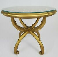 Vintage Accent Table Hollywood Regency Italian Florentine Syroco Glass Top 1970