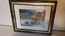"""Cadre avec paysage  """" Port """"  35 x 30 cm"""
