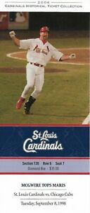 2006 St Louis Cardinals Historic Ticket Collection 9/8/98 McGwire Tops Maris