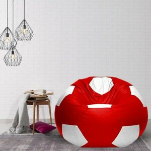 heimdekor Football Bean Bag Cover without Beans (Red & White)