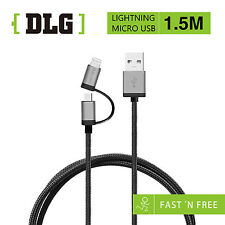 DLG 1.5M Android+lightning 2in1 Strong Material FAST Charging & Data Sync Cable