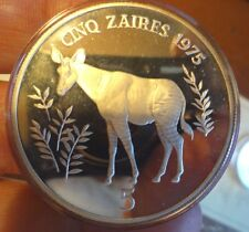 1975 Zaire Silver Proof 50 Zaires WWF Conservation Series 35g 925 COA