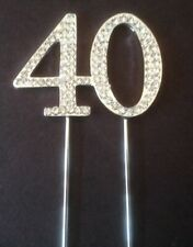 40TH BIRTHDAY SILVER DIAMANTE CAKE TOPPER DECORATION FORTY 40 TH ANNIVERSARY