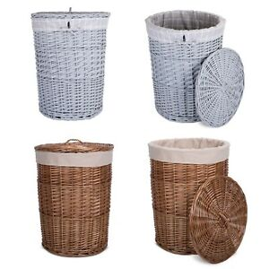 Wickerfield Large Round Wicker Lidded Laundry Clothing Basket with Lining