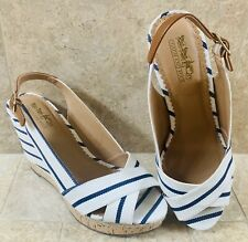 Coach and Four Women's Summer Wedge Blue Navy White Size 8.5
