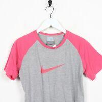 Vintage Women's NIKE Big Swoosh Logo T Shirt Pink Grey   Medium M