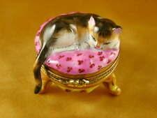 New Rochard Ginger Cat On Pink Stool Limoges Box Authorized Dealer