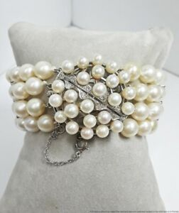 Vintage 1950s 14K Gold Fine Diamond Cultured Akoya Pearl 4 Row Bracelet Sz6.25