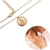Simple Long Chain Coin Necklace Rose Flower Gold Alloy Round Pendant Necklace