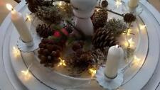 HOME KONTOR XMAS Kerzenhalter Ring Metall weiß Kranz Weihnachten Tafelkerze 36cm