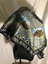 "Italian Roma Scarf Architectural Design made of 100% Polyester 34 1/2"" Square"