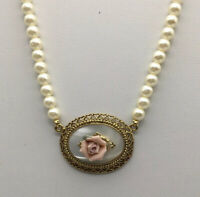 1928 PInk Rose On Mother of Pearl Oval Pendant Faux Pearl Necklace Gold Tone