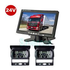 "24VCar Rear View Kit 2xReversing Camera + 7"" LCD Monitor for Bus Truck AU"