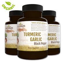 Turmeric, Garlic & Black Pepper 360 Capsules Organic Curcumin, Piperine 500 mg