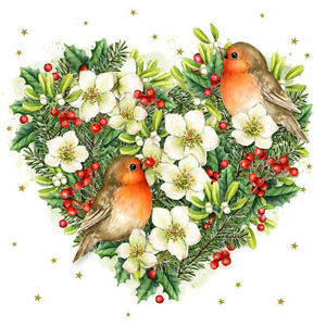 4 x Single Paper Table Napkin/3-Ply/Decoupage/Christmas/Robins in Foliage Heart