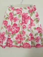 A hteamala 100% Cotton Pleated Skirt Lined Size L Beautiful Pink Floral Print