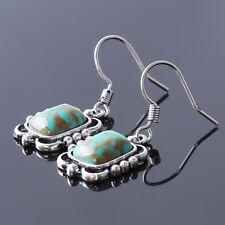 Square Beads Drop/Dangle Earrings Mp Women Vintage Elegant Tibetan Turquoise