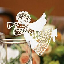 Angel Name Place Cards Wedding Christmas Wine Glass Laser Cut Pearlescent Card