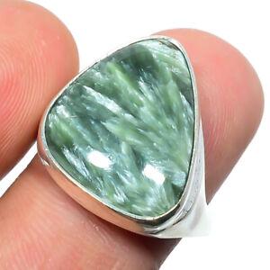 Seraphinite - Russia Gemstone 925 Silver Handmade Jewelry Ring s.8 S2655