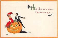 Halloween, Bergman, u. 1914, Man & Woman on Jack-o-Lantern, Black Cat, #7035