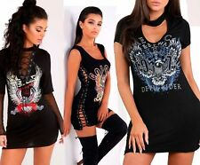 NEW LADIES WOMEN'S SHORT SLEEVE SLOGAN PRINTED CHOKER NECK T-SHIRT DRESS 6-14