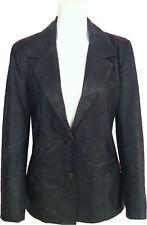 Womens Blazer Black Printed leather jacket 'Size 10' #G3