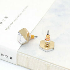 Gold Plated White Turquoise Stud Hexagon Earrings EH1670