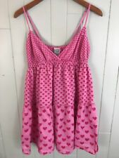 Women's Pink Victoria's Secret Cami Sun Dress Pink with Pink Hearts Large L