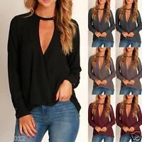 Women Ladies Choker V Neck Long Sleeve Loose Tops Shirt Chiffon Blouse Pullover