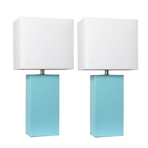 "2 Pcs 21"" Modern Aqua Leather Table Lamps w/ White Fabric Shades Desk Light Set"
