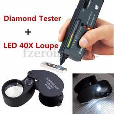 SELETTORE Diamante Gioielli Gemstone Tester Checker II + 40X25 Nero Lente D'ingrandimento Loop S200
