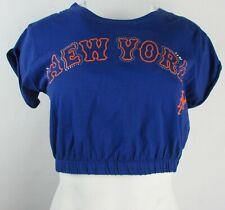 New York Mets Women's Blue Short Sleeve Graphic Crop Top #62