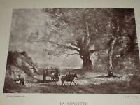 """[VINTAGE PHOTOGLYPTIE] J.B COROT Peinture """"Charette"""" GALERIE CONTEMPORAINE 1878"""