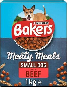 Bakers Meaty Meals Dry Dog Food, Rich in Beef, for Adult Small Dog, 1Kg x 4Packs