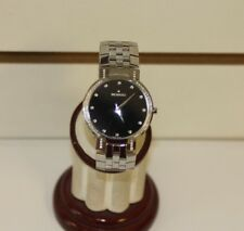 Men's Movado 84.45.189.S FACETO Black Dial & Bezel Diamond Accent SS Watch Used