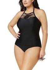 Island Escape Womens Plus Size High-Neck One-Piece Swimsuit 22W Black