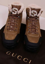 GUCCI SHOES BROWN SUEDE LOGO GUCCISSIMA SHEARLING LINED LUG SOLE BOOTS 9 42 NEW