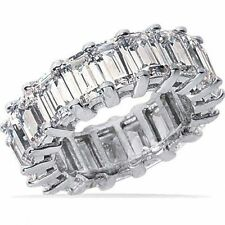 12.21 ct Emerald Cut Platinum Diamond Band Eternity Ring G color Vvs/Vs size 7.5