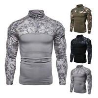 Men Military Combat T-shirt Tactical Long Sleeve Fashion Shirt Hiking Camouflage