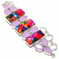 Dichroic Glass, Rose Quartz Gemstone Handmade Jewelry Bracelet 7-8""