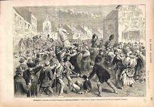 Troubles de Gand à l'Occasion du Pèlerinage d'Oostaker Belgique  GRAVURE 1875