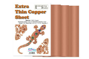 3 Sheets - 100% Copper Foil Pack Extra Thin 0.05mm 300 x 170mm metal embossing