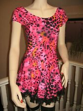 Leopard Skater dress Lace Gothic Rock Adult Dance Gift Festival Holiday  Party