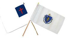 "12x18 12""x18"" Wholesale Combo Christ Christian State Massachusetts Stick Flag"