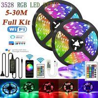 5-30M WIFI RGB LED Strip Light 3528 App IR Remote For Alexa Google Smart Home UK
