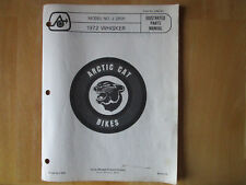 Vintage 1972 Arctic Cat Whisker Parts Manual List Model No. J 2601 Mini Bike