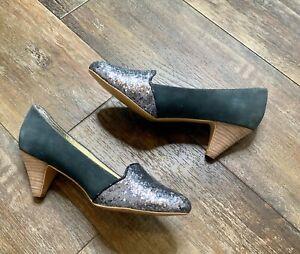Matt Bernson Women's Blue Suede Glitter Slip On Heels Shoes Size 9 9m