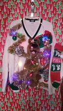 """SCOOBY DOO  """" UGLY """" Tacky Christmas sweater X-LARGE L@@K LIGHTS MENS"""