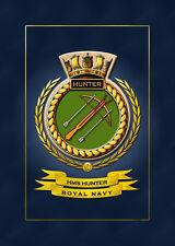 HMS HUNTER SHIPS BADGE/CREST - HUNDREDS OF HM SHIPS IN STOCK