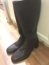 New Ladies Brown Leather Mid Calf Boots By Clarks Size 6 Comfy Casual Low Heels